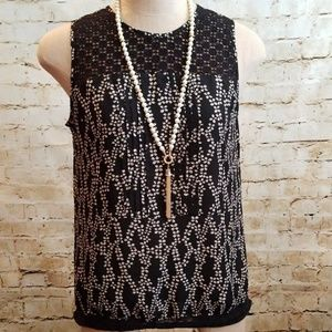 TOP - Loft Black Ivory Print Sleeveless